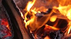 Fire flames are burning the good wood Stock Footage