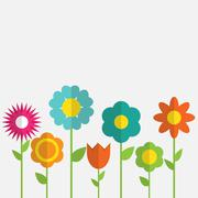 Paper Trendy Flat Flower Set Vector Illustration - stock illustration