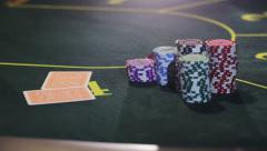 Cards being dealt at poker game in the casino Stock Footage