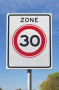 30 km speed limit zone - stock photo
