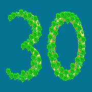 Stock Illustration of Figure thirty 30 anniversary celebration tropical island