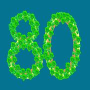 eighty 80 anniversary celebration tropical island - stock illustration