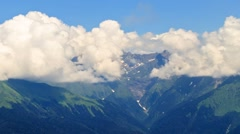 Mountains in the clouds. Psekhako Ridge. Time Lapse. Sochi, Russia. 1280x720 Stock Footage