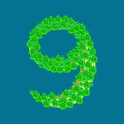 Number nine 9 tropical island Piirros