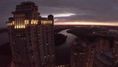 Aerial of Alie Parusa at sunset, Tower, Appartments, high, Moscow, Алые Stock Footage