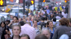 Large crowd people walking crowded street traffic pedestrians New York City NYC Stock Footage