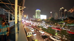 The streets of Jakarta at night, Indonesia Stock Footage