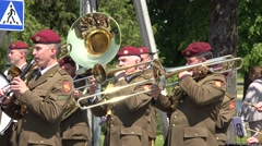 Military orchestra soldiers men play tuba trombone drum instrument. 4K Stock Footage