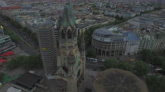 Aerial view of Kaiser Wilhelm Memorial Church, Berlin Stock Footage