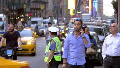 Congested busy street traffic pedestrians crossing zebra New York City NYC day - stock footage