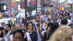 Stock Video Footage of Large crowd people walking crowded street pedestrians commute NYC New York City