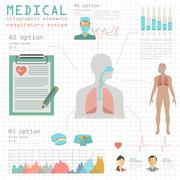 Medical and healthcare infographic, respiratory system infographics - stock illustration