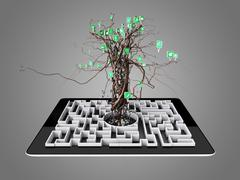 Social media icons set in tree shape on Maze in the tablet. - stock illustration