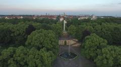 Aerial view of Munich with Maximiliansanlagen Stock Footage