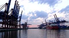 4K Germany Port of Hamburg Container Harbour Harbor Heavy Industry Cranes Stock Footage