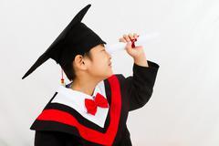 Chinese Graduation Boy Finding a Job Stock Photos