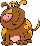 spotted dog cartoon - stock illustration