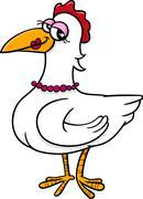 Hen bird farm animal cartoon Piirros