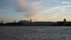 River Neva, view to split of Vasilievsky island, timelapse Stock Footage