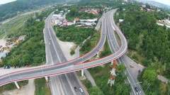 Road overpass aerial Stock Footage
