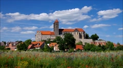 The town Quedlinburg in Harz Mountains, zimelapse Stock Footage