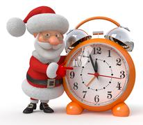 Santa Claus with an alarm clock - stock illustration