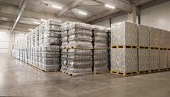 Packs of beer in a brewery warehouse Stock Photos