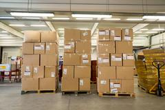 Package boxes for delivery in the DHL storehouse Stock Photos