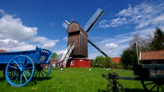 Post mill Dornum in East Frisia Stock Footage