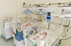 Newborn innocent babys sleeping in incubators Kuvituskuvat