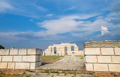Main external wall with main internal arches at the Great Basilica Pliska Stock Photos