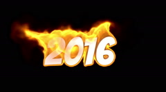 2016 text on fire. word in fire. turbulence Stock Footage