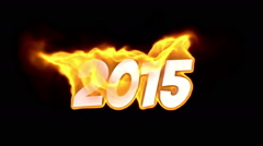 2015. text on fire. word in fire. turbulence Stock Footage