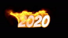 2020 text on fire. word in fire. turbulence - stock footage