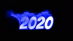 Stock Video Footage of 2020 text on fire. word in fire. turbulence