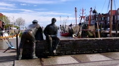 Neuharlingersiel harbour in East Frisia Stock Footage