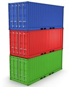 Three freight containers stacked in a tower isolated - stock illustration