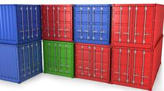 Stock Illustration of Many freight containers