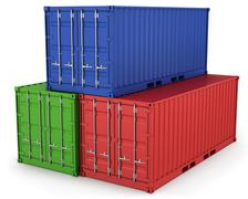 Three freight containers - stock illustration