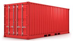 Red freight container isolated - stock illustration