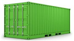 Green freight container isolated - stock illustration