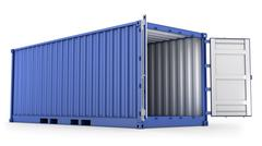 Stock Illustration of Opened blue freight container