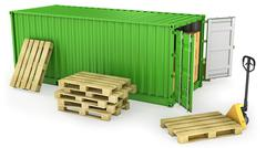 Red opened container and many of carton boxes on a pallet Stock Illustration