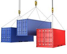 Stock Illustration of Three freight containers are being hoisted