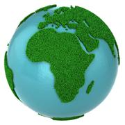 Globe of grass and water, Africa part - stock illustration