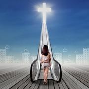 Lonely girl doing spiritual journey Kuvituskuvat