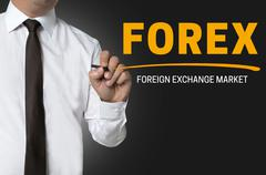 Forex is written by businessman background Stock Photos