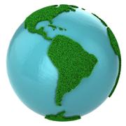 Globe of grass and water, South America part - stock illustration