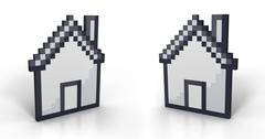 Pixelated house in perspective from two different angles Stock Illustration