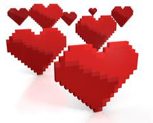 Few red hearts made of cubic pixels - stock illustration